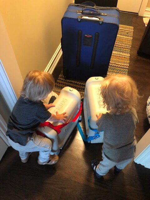 twin boys suitcase holiday